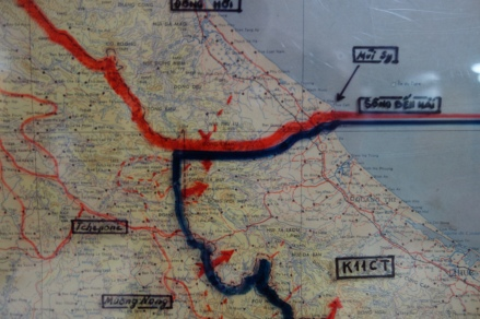 A map, untouched since the moment of the fall of Saigon, showing the DMZ area