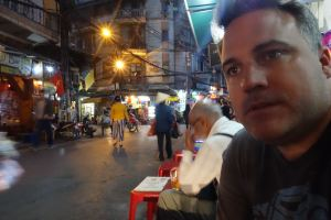 Working on enjoying ourselves in Hanoi.