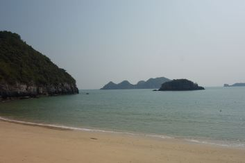 The view from the beach resort. This is a private beach.